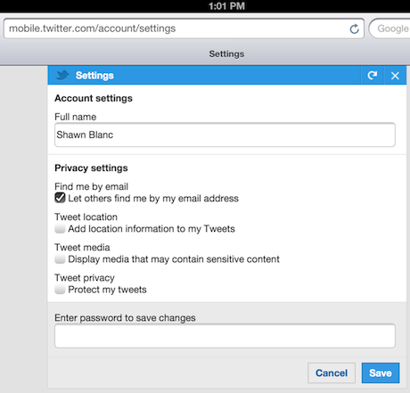 Twitter Settings on Mobile Safari