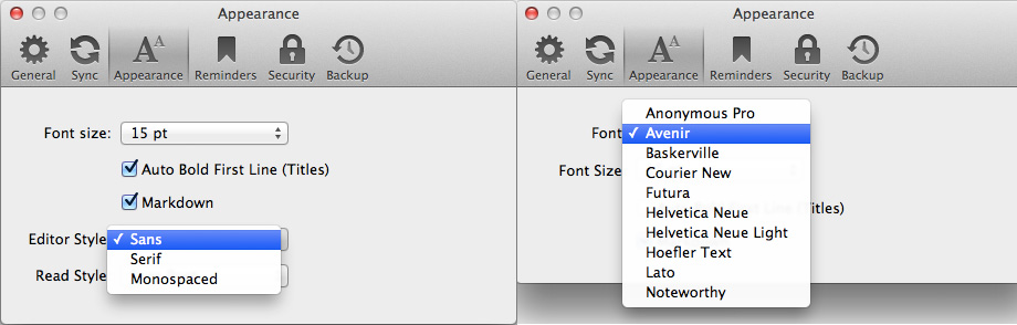 Day One Typeface Prefs