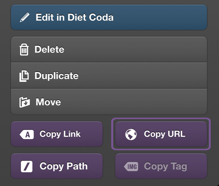 Diet Coda's Purple Radiating Buttons