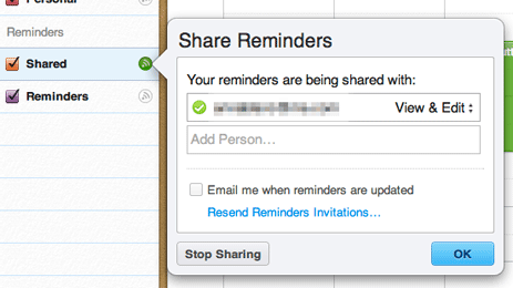 iCloud Shared Reminders