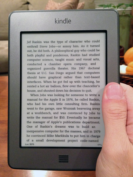 Holding the Kindle Touch with one hand