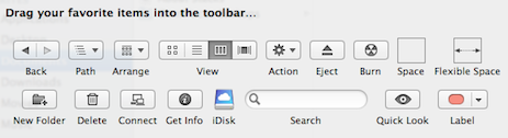The Customize Toolbar Options in Lion's Finder
