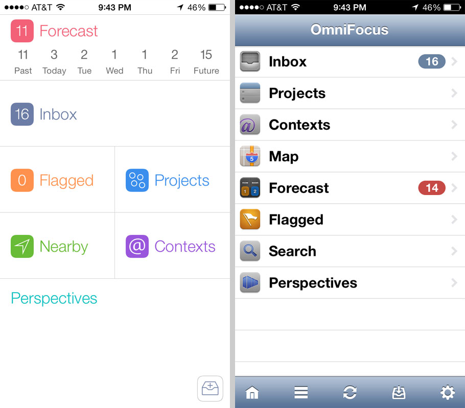 OmniFocus Home screens