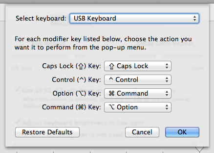 Adjusting the Modifier Keys in OS X System Prefs