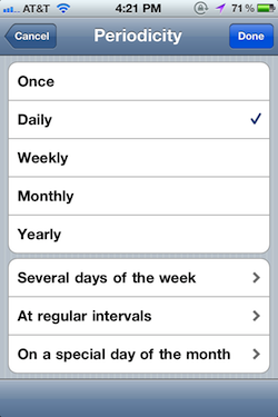 Periodocity Scheduling Options
