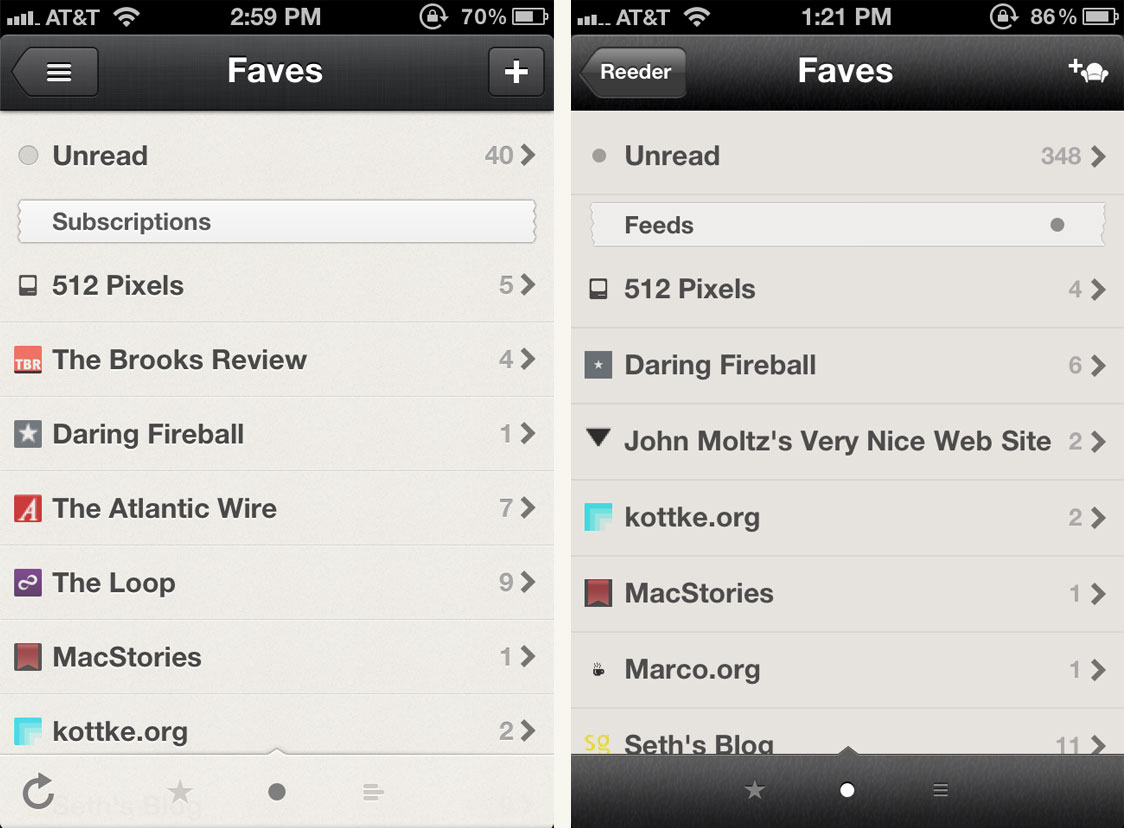 List View in Reeder 3 (L) and Reeder 2 (R)