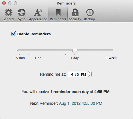 Day One for Mac, Reminders